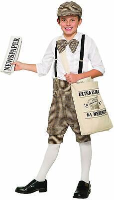 News Boy Roaring 20's Paper Retro Kids Fancy Dress Up Halloween Child Costume - Newsboy Halloween Costume