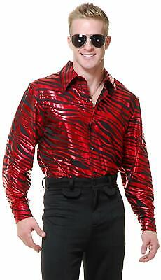 Zebra Print Disco Shirt 70's Fever Pimp Fancy Dress Up Halloween Adult Costume - Zebra Print Halloween Costumes