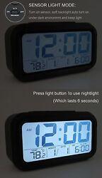 LIGHT SENSOR ALARM CLOCK LCD DIGITAL SNOOZE  CLOCK LIGHT-activated Sensor