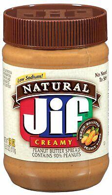 LOT OF (3) JIF NATURAL CREAMY LOW SODIUM PEANUT BUTTER - 16 OZ JAR - 3 LBS Low Sodium Peanut Butter