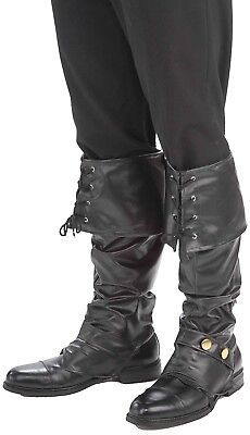 Deluxe Black Pirate Boot Tops Covers Spats with Studs Adult Costume Accessory (Pirate Costume Boot Covers)