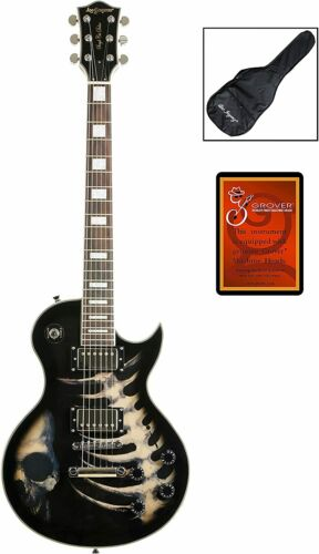 """Leo Jaymz 24.75"""" Single Cut Curved Top Electric Guitar - with Cool Skull Graphic"""