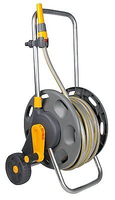 HOZELOCK Portable 50m Hose Rell Pipe Set Drum on Cart Garden Plants Watering