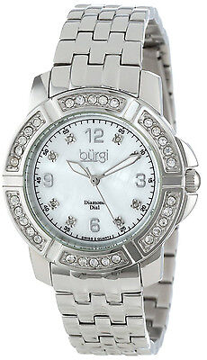 Burgi BUR069 Women's Diamond Mother of Pearl Dial Crystal Accented Bezel Watch