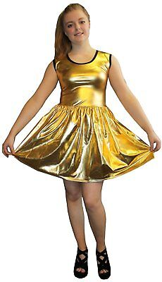 METALLIC SHINY PVC GOLDEN GREASE WETLOOK ROCKABILLY SWING SLEEVELESS DRESS RAVE](Grease Party Clothes)