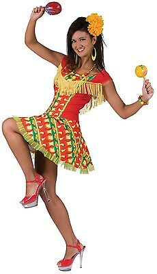 Damen Mexikanisch Spanisch aus Aller Welt Kostüm Kleid Outfit UK 10-12-14 (Kostüme Aus Aller Welt)