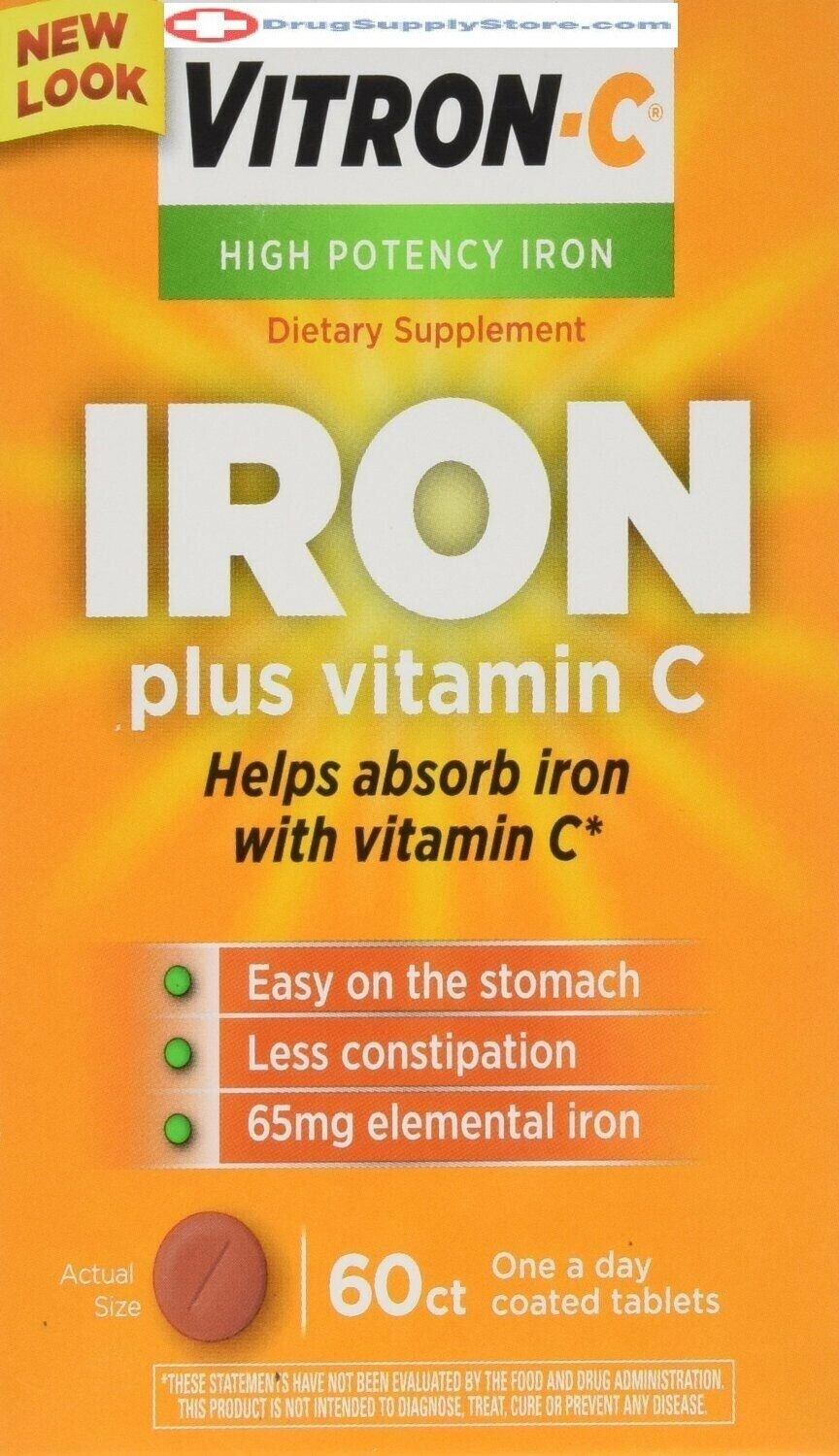 Vitron-C High Potency Iron Supplement with Vitamin C, 60 Cou