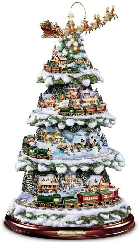 Bradford Thomas Kinkade Tabletop Christmas Tree Train Wonderland Express