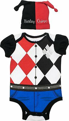 Harley Quinn Baby (Suicide Squad Harley Quinn Baby Girls' Costume Bodysuit and Hat, Black and Red)