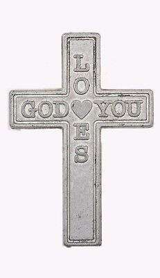 25 God Loves You Metal Pocket Crosses - Pack of 25, Pocket or Crafts