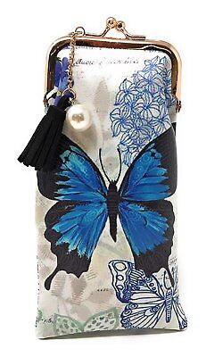 (Value Arts Blue Butterfly Eyeglass Case Pouch, 7 Inches Long)