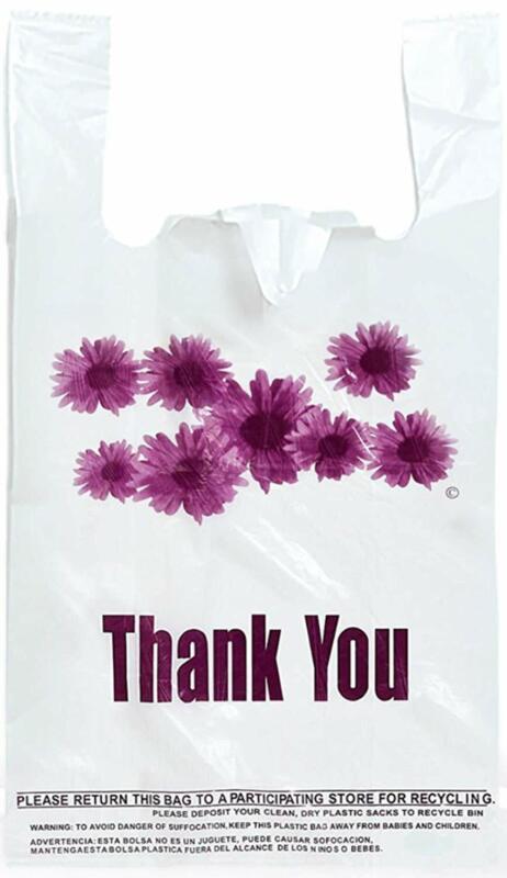 Purple Flower Thank You Plastic t-Shirt Bags - 300 pcs/case