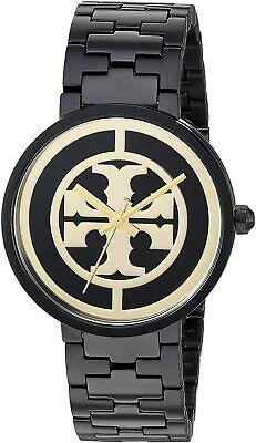 NEW Tory Burch Black & Gold Reva Watch TBW4039 Logo NIB