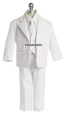 Boy's 5 Pc White Formal Suit  w Jacket Vest Shirt Tie First Communion - Communion Suits Boys