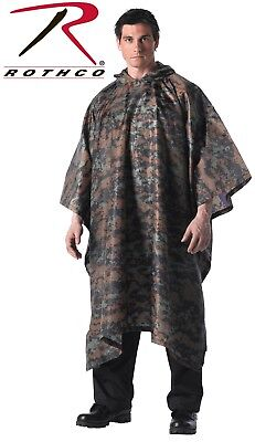 Woodland Digital Camouflage Rip-Stop Tactical Military Hooded Rain Poncho (Camouflage Ripstop Nylon Poncho)
