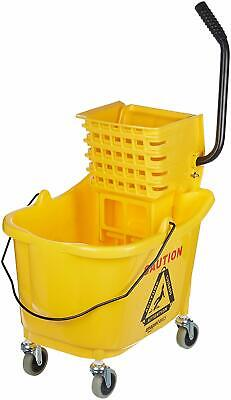 Mop Bucket Wheels Side Press Wringer Commercial Set 35 Quart Yellow Mopping