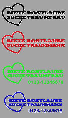 Aufkleber Biete Rostlaube suche Traummann Traumfrau Auto Flirt Date Handynummer