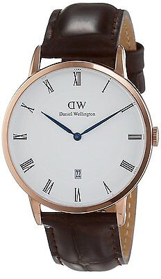 Daniel Wellington 1102DW Dapper York Rose Gold Tone Dark Brown Leather Watch