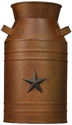 Milk Can Container Bottle Antique Decor Vintage Metal Decorative Star Attached