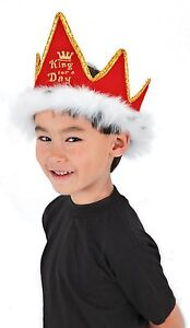 Red-Velvet-Fur-Royal-KING-FOR-A-DAY-Crown-Costume-Hat-birthday-party-mardi-gras
