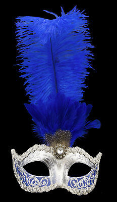Mask from Venice Colombine in Feather D'Ostrich Blue Silver Paper Mache 22323