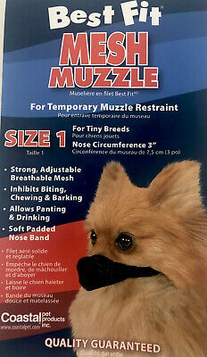 """Best Fit Mesh Dog Muzzle - Size 1 (3"""" For Tiny Dogs/Cats) Best Fit Dog Muzzle"""