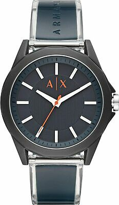 New Armani Exchangr AX2642 Men's Drexler Blue Polyurethane Strap Watch 44mm