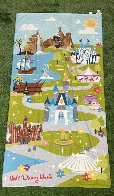 "Disney Parks Walt Disney World Map Attractions Beach Towel Cotton 32"" x 64"""
