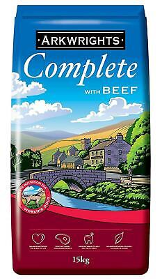 15kg Bag Complete Dry Dog Food with Beef Pets Feed Protein Nutrition Arkwrights