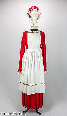 Mrs. Santa Costume 4 Piece Red & White Velour Skirt Top Hat & Poly/Cotton Apron - Red Santa Skirt