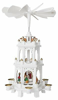 "German Christmas Windmill Carousel Wooden Pyramid Nativity 3 Tier 18"" White"