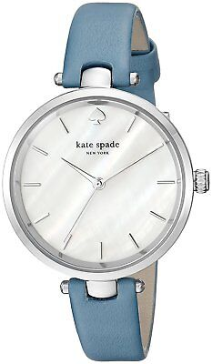 Kate Spade Holland Stainless Steel Blue Wash Leather Strap Ladies Watch KSW1282 Blue Steel Wash