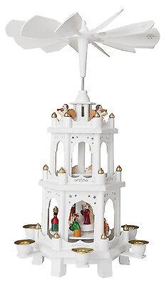 BRUBAKER Weihnachtspyramide Holz Pyramide Weiß Weihnachten 3 Etagen 45cm Höhe