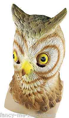 Mens Ladies Owl Bird Rubber Face Mask Halloween Fancy Dress Costume - Ladies Owl Costume