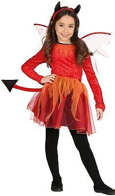 Fire Princess Halloween Costume (Girls Fire Devil Tail Horns Wings Halloween Horror Fancy Dress Costume Outfit)