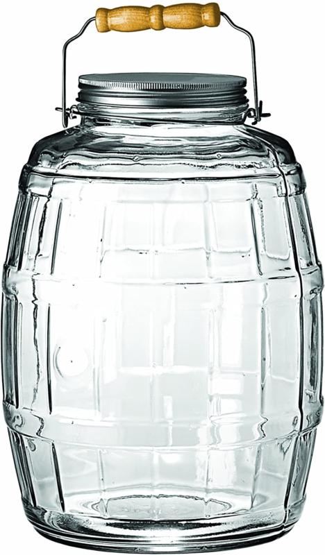 2.5 Gallon Glass Barrel Jar With Lid Vintage Pickle Canister