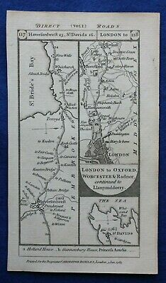 Original antique road map PEMBROKESHIRE, MIDDLESEX, UXBRIDGE, Paterson 1785