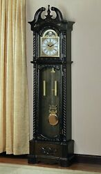 Coaster 900721 Grandfather Clocks Dark Traditional Grandfather Clock with Chime