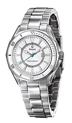 Bulova Women's Precisionist Winter Park Quartz Silver Tone 36mm Watch 96M123