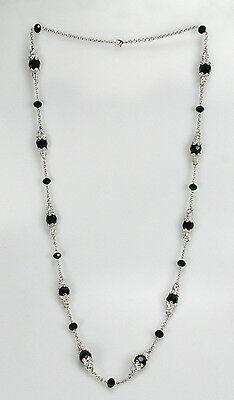 Maxine Denker MD6009NE Rhodium Link Jet Faceted Glass Necklace ()