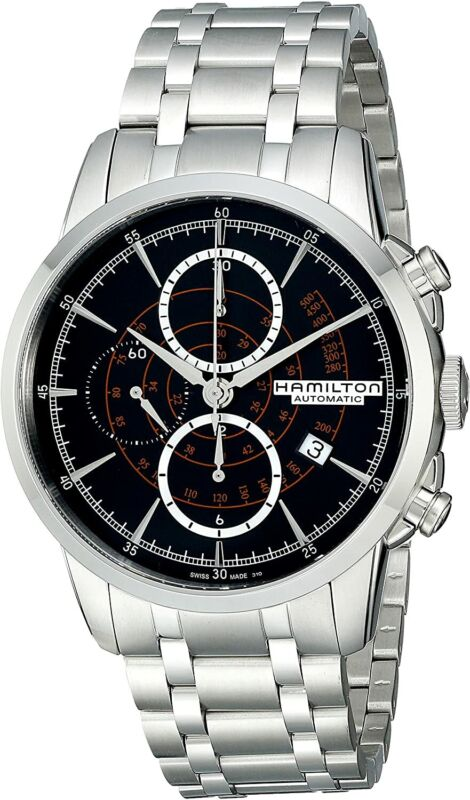 Hamilton Men H40656131 American Classic Black Dial 44mm Stainless Steel Watch