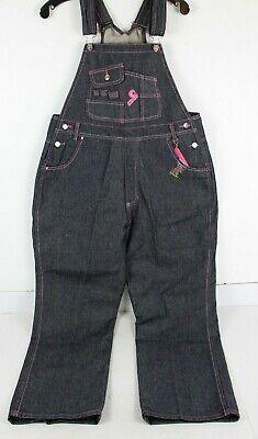 Crest Jeans Womens XL Denim Bib Overalls Black Dark Wash Pink Embroidered NWD (Bib Overalls Pink)