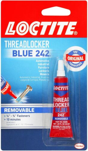 LockTite Thread Locker Blue Bolt Metal Bonder 242 Lock Tight Removable