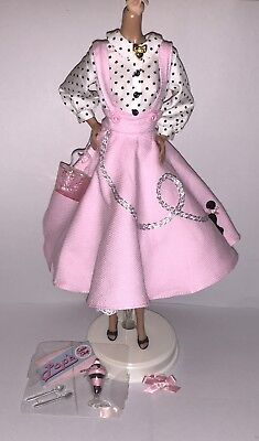 Barbie Vintage Repro Soda Shop Doll Outfit Pink Poodle Skirt Shoes & Accessories - Poodle Skirt Shoes