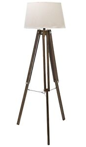 Colonial Vintage Style Tripod Floor Lamp Natural Light Shade Dark Wood Legs NEW