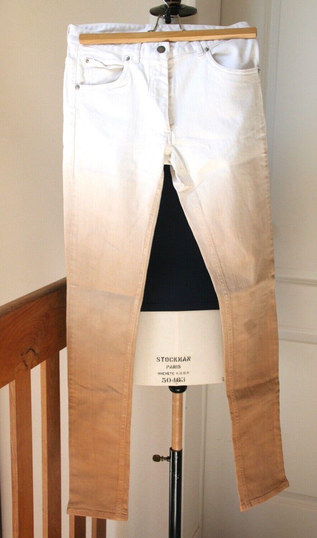 Jeans maison martin margiela - skinny - dégradé blanc jusqu'au camel - 38 - neuf