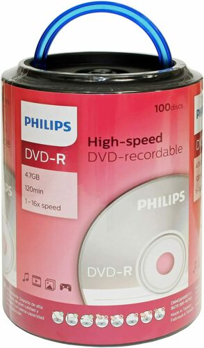 100 PHILIPS Blank 16X DVD-R DVDR Branded Logo 4.7GB Disc Spindle with Handle