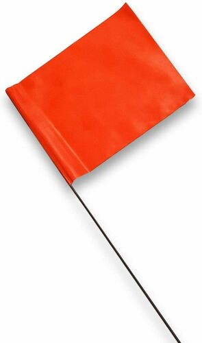 """Ace Supply Fluorescent Orange Marking Flags 4"""" x 5"""" on 15"""" Steel Wire - 100 Pack"""