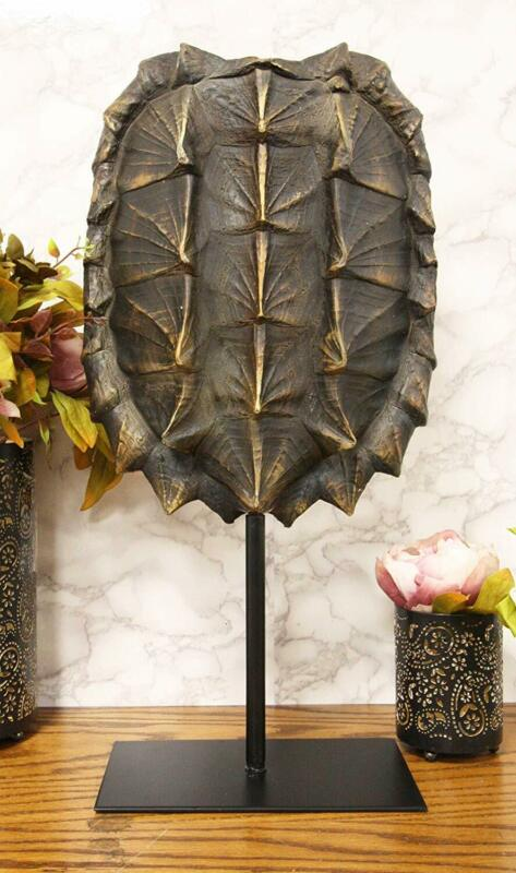 "Ebros Large Alligator Snapping Turtle Shell Sculpture On Metal Mount 20.5""H"