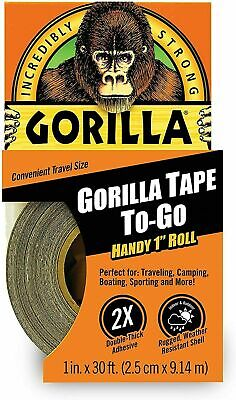 Gorilla Duct Tape To-go 1 Inch X 30 Ft Black Incredibly Strong Double Thick